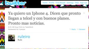 Tweet de @ruleiro aunciando Telcel a las 8:45 am del 23 de agosto