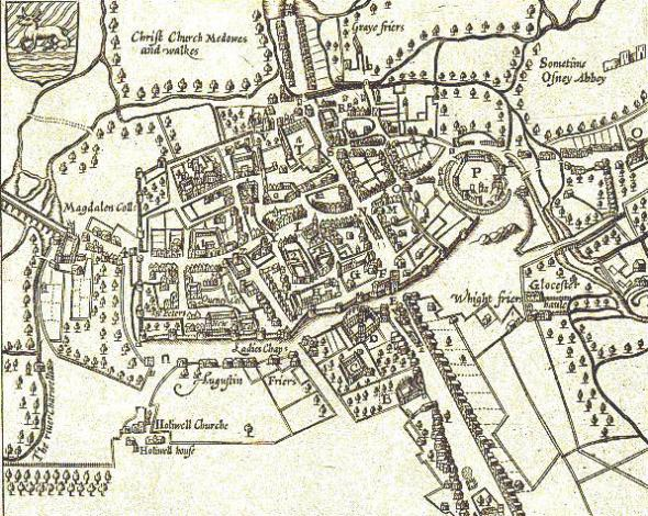 Mapa de Oxford por John Speed, 1605