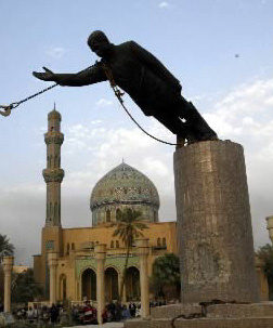 La caída de [la efigie de] Hussein